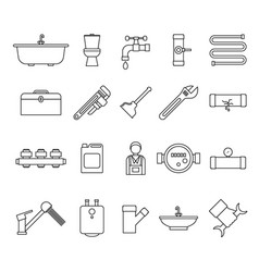 plumbing equipments and tools black thin line icon vector image