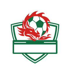 red dragon soccer ball crest vector image