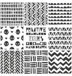 Set of 8 primitive geometric patterns Tribal vector image vector image