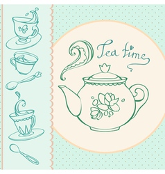 teatime greeting card with mugs vector image vector image