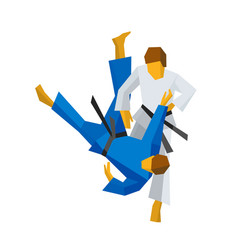 two judo fighters in traditional blue and white vector image