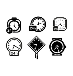 Wall clocks watch and alarm icons vector image vector image