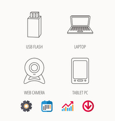 web camera usb flash and notebook laptop vector image vector image