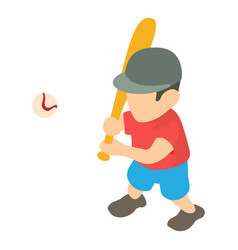 baseball player icon isometric 3d style vector image