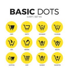 cart flat icons set vector image