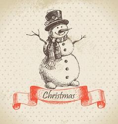 Christmas snowman hand drawn vector