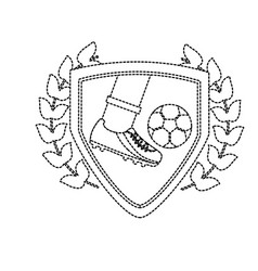 leg foot kicking soccer ball inside shield emblem vector image