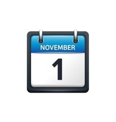 November 1 calendar icon flat vector