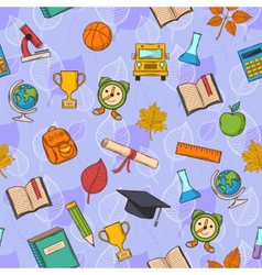 Seamless pattern Back to school on purple vector image vector image