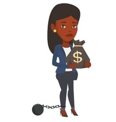 Chained taxpayer holding bag with dollar sign vector image