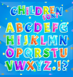 children font with blue background vector image vector image