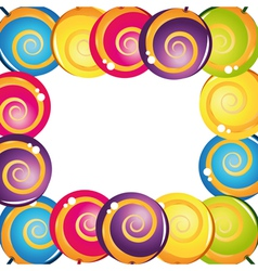 colorful delicious lollipop collection frame vector image