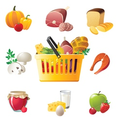 shopping basket and highly detailed food icons vector image vector image