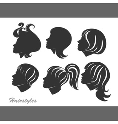 Silhouettes of women with hairstyles for design vector image vector image