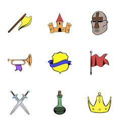 warrior icons set cartoon style vector image vector image