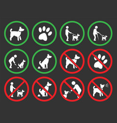 dogs allowed and prohibited signs vector image