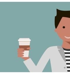 Man Drinking Coffee or Tea vector image