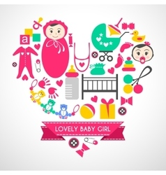 Newborn baby girl icons set vector image