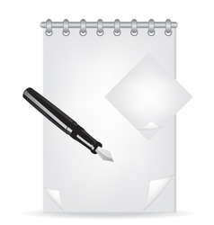 notebook and fountain pen vector image vector image
