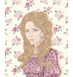Retro Woman Portrait vector image