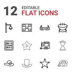 12 vintage icons vector image