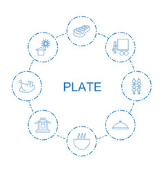 8 plate icons vector
