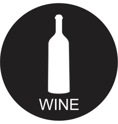 A bottle of wine and a glass icon vector