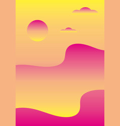 Abstract gradient landscape of sunset over the sea vector