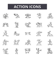 action line icons editable stroke signs concept vector image