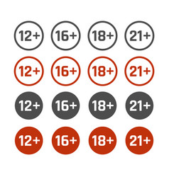 Age restrictions icons set adults content signs vector