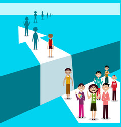 arrow over abyss with people line challenge vector image