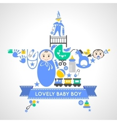 Baby boy icons collection set in form of star vector image