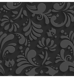 Black 3d Floral Seamless Pattern vector image