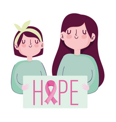 breast cancer awareness month woman and girl hope vector image