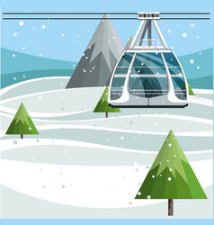 Cableway with empty ski lift cable on mountains vector