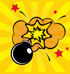 cartoon bomb with fire vector image