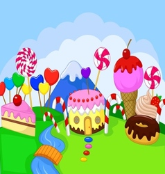 Cartoon Fantasy sweet food land vector image