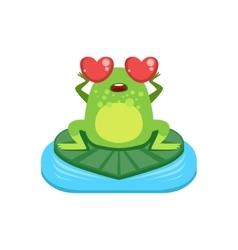 Cartoon Frog Character In Love vector