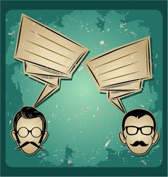 chat two people Faces with Mustaches and eyeglass vector image