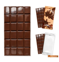 chocolate bar and chocolate packaging 3d vector image