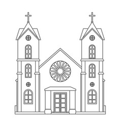 christianity lineart church architecture house vector image