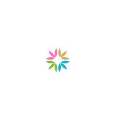 circle leaf colorful ornament logo vector image