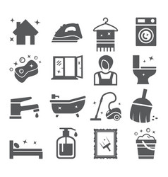Cleaning and housework icons vector