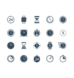 clock black icons time and calendar infographic vector image