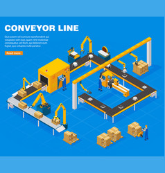 Conveyor line concept vector