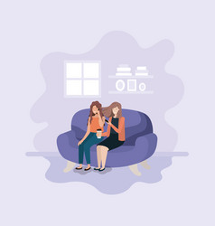 Couple of women in living room using technology vector