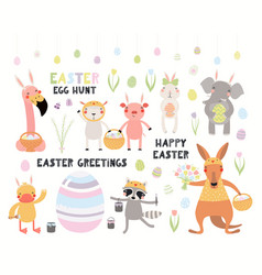 Cute easter animals set vector