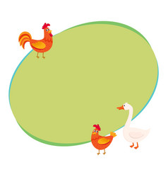 cute funny farm birds - rooster hen goose - on vector image