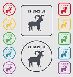 Decorative Zodiac Aries icon sign symbol on the vector