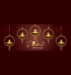 Diwali light festival banner gold diya candle vector